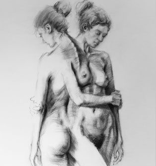 Sample artwork created using our figure drawing reference photos shows how in-the-round photos can be used.